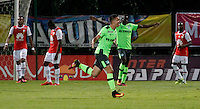 BOGOTA -COLOMBIA, 15-09-2016. Nicolas Benedetti jugador del  Deportivo Cali celebra su gol contra Independiente Santa Fe  durante encuentro  por la fecha 12 de la Liga Aguila II 2016 disputado en el estadio Metropolitano de Techo./ Nicolas Benedetti  player of  Deportivo Cali celebrates his goal against Independiente Santa Fe  during match for the date 12 of the Aguila League II 2016 played at Metropolitano de Techo stadium . Photo:VizzorImage / Felipe Caicedo  / Staff