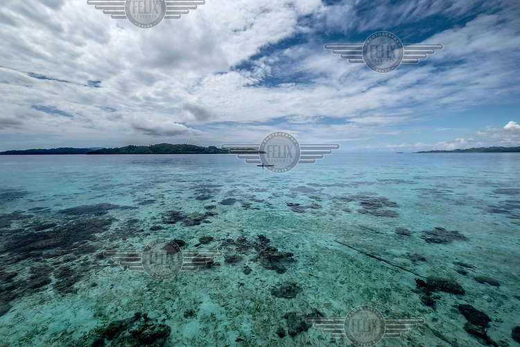 A lone Bajau fisherman paddles through shallow water near the stilt village of Pulo Papan, in the Togean Islands.