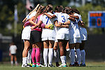 04 September 2016: Duke's starters huddle before the game. The Duke University Blue Devils hosted the University of Minnesota Golden Gophers at Koskinen Stadium in Durham, North Carolina in a 2016 NCAA Division I Women's Soccer match. Duke won the game 1-0.
