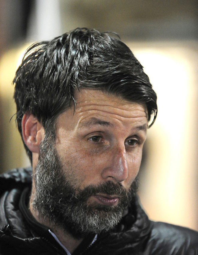 Lincoln City manager Danny Cowley during the pre-match warm-up<br /> <br /> Photographer Andrew Vaughan/CameraSport<br /> <br /> The EFL Sky Bet League Two - Lincoln City v Exeter City - Tuesday 26th February 2019 - Sincil Bank - Lincoln<br /> <br /> World Copyright © 2019 CameraSport. All rights reserved. 43 Linden Ave. Countesthorpe. Leicester. England. LE8 5PG - Tel: +44 (0) 116 277 4147 - admin@camerasport.com - www.camerasport.com