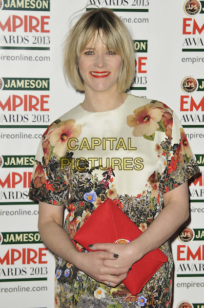 Edith Bowman.The 18th Jameson Empire Film Awards at Grosvenor House, London, England..March 24th, 2013.half length white green red floral print dress clutch bag.CAP/DS.©Dudley Smith/Capital Pictures