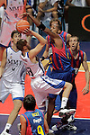 Real Madrid's Sergio Rodriguez (l) and FC Barcelona's Terence Morris during ACB Supercup Semifinal match.September 24,2010. (ALTERPHOTOS/Acero)