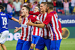 Atletico de Madrid's Kevin Gameiro, Fernando Torres and Koke Resurrecccion during the match of La Liga Santander between Atletico de Madrid and Deportivo Alaves at Vicente Calderon Stadium. August 21, 2016. (ALTERPHOTOS/Rodrigo Jimenez)