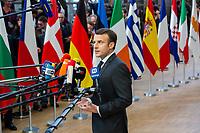 Le Pr&eacute;sident fran&ccedil;ais Emmanuel Macron arrive au Sommet europ&eacute;en &agrave; Bruxelles.<br /> Belgique, Bruxelles, 21 mars 2019 <br /> French President Emmanuel Macron attends the EU summit meeting, at the European Union headquarters in Brussels.<br /> Belgium, Brussels, 21 March 2019.