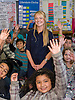 Teacher of the Year Ashley Monteil with her fourth grade class at Lyons Elementary School, December 14, 2012, in Houston.