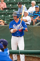 Matt Jones (40)of the Ogden Raptors waits to bat against the Idaho Falls Chukars in Pioneer League action at Lindquist Field on August 26, 2015 in Ogden, Utah. Ogden defeated the Chukars 5-1.  (Stephen Smith/Four Seam Images)