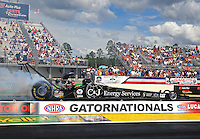 Mar 13, 2015; Gainesville, FL, USA; NHRA top fuel driver Dave Connolly during qualifying for the Gatornationals at Auto Plus Raceway at Gainesville. Mandatory Credit: Mark J. Rebilas-