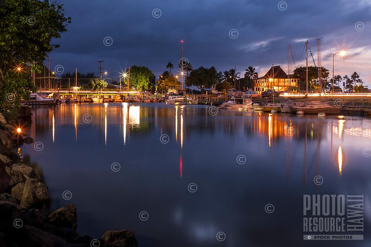 Evening at Hale'iwa Small Boat Harbor, North Shore, O'ahu.