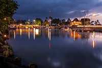 Evening at Hale'iwa Small Boat Harbor, North Shore, O'ahu.