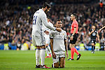 Real Madrid Alvaro Morata and Danilo Luiz Da Silva during La Liga match between Real Madrid and Deportivo de la Coruña at Santiago Bernabeu Stadium in Madrid, Spain. December 10, 2016. (ALTERPHOTOS/BorjaB.Hojas)