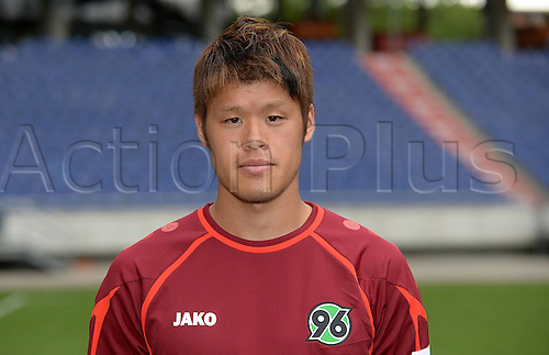 11.07.2013. Hannover, Germany.  Player Hiroki Sakai of German Bundesliga club Hannover 96 during the official photocall for the season 2013-14 in the HDI Arena in Hannover (Lower Saxony).