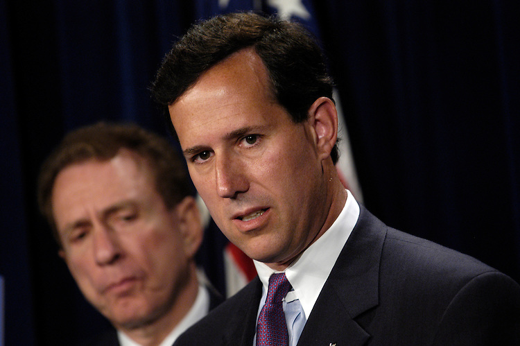 Sen. Arlen Specter, R-Pa., and Sen. Rick Santorum, R-Pa., today at a press conference about the Berg execution and the continuing investigation of Iraqi prisoner abuse