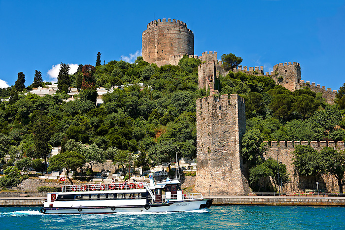 Rumelihisar (Rumelian Castle) on the banks of the Bosphorus built by the Ottoman Sultan Mehmed II between 1451 in 4 months and 16 days as part of the siege of Constantinople  before he conquered it in 1453. Istanbul Turkey