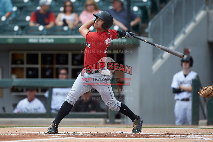 Kevin Kramer (17) of the Indianapolis Indians follows through on his swing against the Charlotte Knights at BB&T BallPark on August 22, 2018 in Charlotte, North Carolina.  The Indians defeated the Knights 6-4 in 11 innings.  (Brian Westerholt/Four Seam Images)