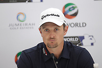 Justin Rose (ENG) speaking during his press conference ahead of the DP World Tour Championship, Earth Course, Jumeirah Golf Estates, Dubai, UAE.  18/11/2015.<br /> Picture: Golffile | Fran Caffrey<br /> <br /> <br /> All photo usage must carry mandatory copyright credit (© Golffile | Fran Caffrey)