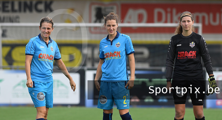 20191005  -  Diksmuide , BELGIUM :  FWDM's Sarah Verschaeve , FWDM's defender Lisa Coppein and FWDM's goalkeeper Britt De Keyzer  pictured during a footballgame between the womensoccer teams from Famkes Westhoek Diksmuide Merkem and KV Mechelen Ladies A , on the 5th matchday in the first division , 1e nationale , in Diksmuide - Belgium - saturday 5th october 2019 . PHOTO DAVID CATRY | Sportpix.be