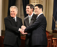Quebec City, March 13, 2007 ? Jean Charest, Mario Dumont and André Boisclair shake hands before the debate at National Assembly March 13, 2007. Just two weeks before the March 26 election, the debate could be a turning point.