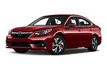 Stock pictures of low aggressive front three quarter view of 2020 Subaru Legacy Premium 4 Door Sedan Low Aggressive