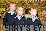 Triplets Micheal, Padraig and Sean Casey pictured on their first day of school at sneem National school on Wednesday.