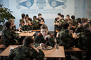 "Cossack military school near Volgograd (nearly 1,000km south-east of Moscow). Aged 7 to 17 the cadets studying in the school. The school is free. ""Apart from the purchase of the required daily, families do not have a penny to pay, we provide uniform parade, education, moral education, and shelter,"" said Alexander Nikolaevich, the head of education."