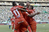 PALMIRA - COLOMBIA, 16-03-2019: Jugadores del America celebran el autogol de Francisco Delorenzi del cali durante partido por la fecha 10 de la Liga Águila I 2019 entre Deportivo Cali y América de Cali jugado en el estadio Deportivo Cali de la ciudad de Palmira. / Players of America celebrate the selfgoal of Francisco Delorenzi of Cali during match for the date 10 as part Aguila League I 2019 between Deportivo Cali and America de Cali played at Deportivo Cali stadium in Palmira city.  Photo: VizzorImage / Gabriel Aponte / Staff
