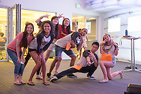 Incoming first years start off Oxy Engage by attending a carnival in Johnson Hall, featuring karaoke, ping pong, dancing, ice cream and other games. Aug. 17, 2015.<br /> (Photos by Marc Campos, Occidental College Photographer)