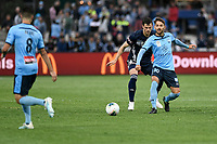 17th November 2019; Jubilee Oval, Sydney, New South Wales, Australia; A League Football, Sydney Football Club versus Melbourne Victory; Milos Ninkovic of Sydney passes to Paulo Retre of Sydney as James Donachie of Melbourne Victory pressures