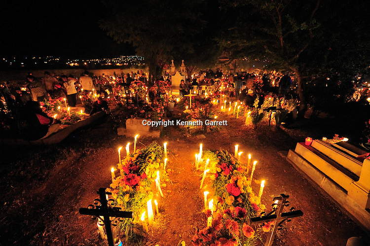 Mexico; Oaxaca; Day of the Dead; Candlelight Vigil; ancestors; religion; worship, cemetery