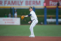Hillsboro Hops shortstop LT Tolbert (11) prepares to make a throw to first base during a Northwest League game against the Salem-Keizer Volcanoes at Ron Tonkin Field on September 1, 2018 in Hillsboro, Oregon. The Salem-Keizer Volcanoes defeated the Hillsboro Hops by a score of 3-1. (Zachary Lucy/Four Seam Images)