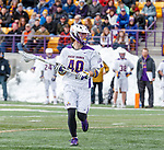 University at Albany Men's Lacrosse defeats Cornell 11-9 on Mar 4 at Casey Stadium.  Kyle McClancy (#40).