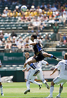 June 20, 2009:  Pablo Campos of Earthquakes jumps for the ball during a game at Coliseum in Oakland, California. San Jose Earthquakes defeated Los Angeles, 2-1.