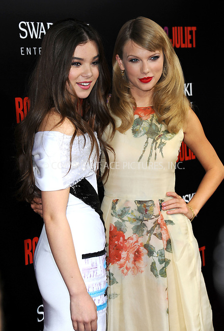 WWW.ACEPIXS.COM<br /> <br /> September 24 2013, LA<br /> <br /> Hailee Steinfeld (L) and Taylor Swift arriving at the world premiere of 'Romeo and Juliet' at the ArcLight Hollywood on September 24, 2013 in Hollywood, California.<br /> <br /> <br /> By Line: Peter West/ACE Pictures<br /> <br /> <br /> ACE Pictures, Inc.<br /> tel: 646 769 0430<br /> Email: info@acepixs.com<br /> www.acepixs.com