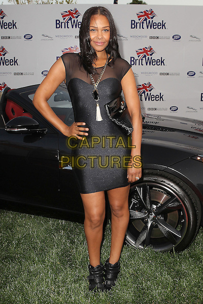 "Samantha Mumba.7th Annual BritWeek Festival ""A Salute To Old Hollywood"" Launch Party held at the British Consul General's Residence, Los Angeles, California, USA..April 23rd, 2013.full length black sheer dress sleeveless hand on hip ankle boots.CAP/ADM/KB.©Kevan Brooks/AdMedia/Capital Pictures"