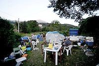 Saletta, Rieti, 26 Agosto 2016.<br /> Campo autogestito dai superstiti del terremoto a Saletta.<br /> In questa piccola citt&agrave; i residenti sono tredici  e durante l'estate &egrave; affollata dai turisti soprattutto da Roma, il terremoto ha ucciso ventidue persone.<br /> L'Italia &egrave; stata colpita da un potente, terremoto di 6,2 magnitudo nella notte del 24 agosto, 2016, che ha ucciso almeno 290 persone .<br /> Self camp  forearthquake survivors in Saletta, earthquake epicenter in central Italy was struck by a powerful, 6.2-magnitude earthquake in the night of August 24, 2016, Which has killed at least 290 people and devastated hundreds of houses.