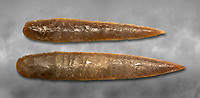 Brown obsidian dagger blades. Catalhoyuk Collections. Museum of Anatolian Civilisations, Ankara. Against a gray mottled background