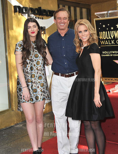 Cheryl Hines &amp; Robert F. Kennedy Jr. &amp; his daughter Kyra Kennedy on Hollywood Boulevard where Hines was honored with the 2,516th star on the Hollywood Walk of Fame.<br /> January 29, 2014  Los Angeles, CA<br /> Picture: Paul Smith / Featureflash