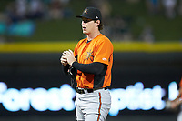 Frederick Keys starting pitcher Michael Baumann (36) rubs up the baseball during the game against the Winston-Salem Dash at BB&T Ballpark on July 26, 2018 in Winston-Salem, North Carolina. The Keys defeated the Dash 6-1. (Brian Westerholt/Four Seam Images)
