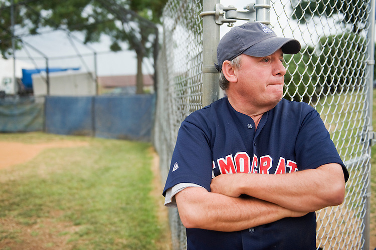 UNITED STATES - JUNE 16:  Rep. Mike Doyle, D-Pa., coach of the democratic baseball team is interviewed during the team's practice at Brentwood Park in Northeast.  (Photo By Tom Williams/Roll Call)