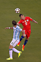 Action photo during the match Argentina vs Chile corresponding to the Final of America Cup Centenary 2016, at MetLife Stadium.<br /> <br /> Foto durante al partido Argentina vs Chile cprresponidente a la Final de la Copa America Centenario USA 2016 en el Estadio MetLife , en la foto:(i-d)Gonzalo Higuain de Argentina y Gary Medel de Chile<br /> <br /> <br /> 26/06/2016/MEXSPORT/JAVIER RAMIREZ