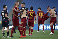 Football, Serie A: AS Roma - Cagliari, Olympic stadium, Rome, April 27, 2019. <br /> Roma's players celebrates after winning 3-0 the Italian Serie A football match between AS Roma and Cagliari, on April 27, 2019. <br /> UPDATE IMAGES PRESS/Isabella Bonotto