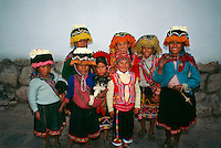 Peruvian children in native costume, Cuzco, Peru