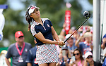 DES MOINES, IA - AUGUST 20: USA's Danielle Kang watches her tee shot on the first hole during her singles match Sunday morning at the 2017 Solheim Cup in Des Moines, IA. (Photo by Dave Eggen/Inertia)