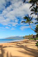 Keawakapu beach on the south shore of Maui. Mana Kai resort in the distance.