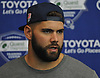 Justin Pugh #72 of the New York Giants speaks with the media after practice at Quest Diagnostics Training Center in East Rutherford, NJ on Monday, Aug. 29, 2016.