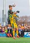 15 November 2015: Binghamton University Bearcat Midfielder Kevin Flesch, a Freshman from Munich, Germany, battles University of Vermont Catamount Forward/Midfielder Stefan Lamanna, a Junior from Pickering, Ontario, at Virtue Field in Burlington, Vermont. The Bearcats fell to the Catamounts 1-0 in the America East Championship Game. Mandatory Credit: Ed Wolfstein Photo *** RAW (NEF) Image File Available ***