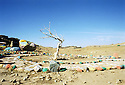 Irak 2000.Peinture pour la paix dans le noman's land entre l'UPK et le KDP.   Iraq 2000.Paintings for peace on the road between  Erbil and Koysanjak