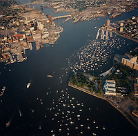 "1991 June ..Redevelopment.Downtown South (R-9)..Harborfest Aerials from helicopter.Low angle from Portsmouth.2 1/4""  color negs...NEG#.NRHA#.06/91  (REDEV  :DT  Sth3:2  :7  :1-F1)."
