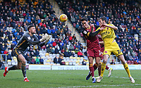Fleetwood Town's Ashley Nadesan beats Bradford City's Adam Chicksen and heads towards goal<br /> <br /> Photographer David Shipman/CameraSport<br /> <br /> The EFL Sky Bet League One - Bradford City v Fleetwood Town - Saturday 9th February 2019 - Valley Parade - Bradford<br /> <br /> World Copyright &copy; 2019 CameraSport. All rights reserved. 43 Linden Ave. Countesthorpe. Leicester. England. LE8 5PG - Tel: +44 (0) 116 277 4147 - admin@camerasport.com - www.camerasport.com