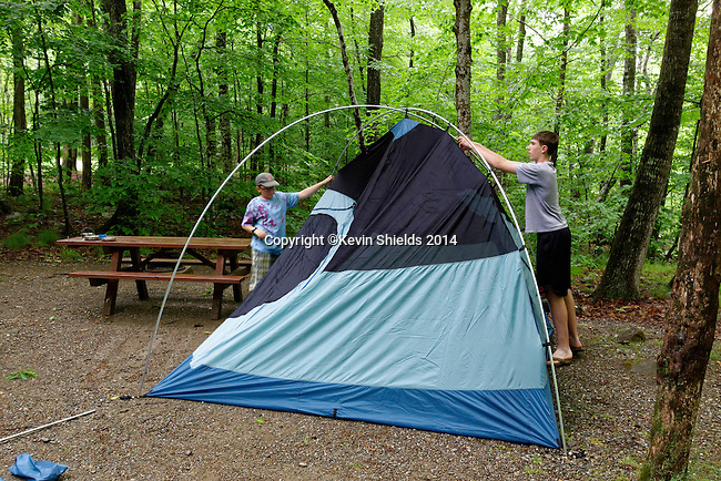 Setting up a tent for camping at Camden Hills State Park, Maine, USA