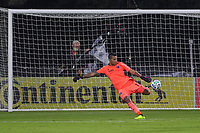 10th July 2020, Orlando, Florida, USA;  San Jose Earthquakes goalkeeper Daniel Vega (17) kicks the ball during the soccer match between the Seattle Sounders and the San Jose Earthquakes on July 10, 2020, at ESPN Wide World of Sports Complex in Orlando, FL.